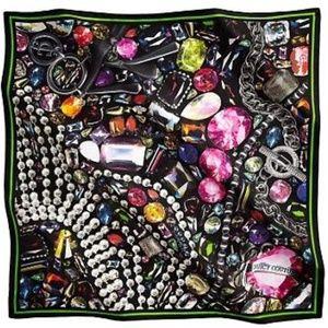 JUICY COUTURE Jewel Gems Printed Square Silk Scarf